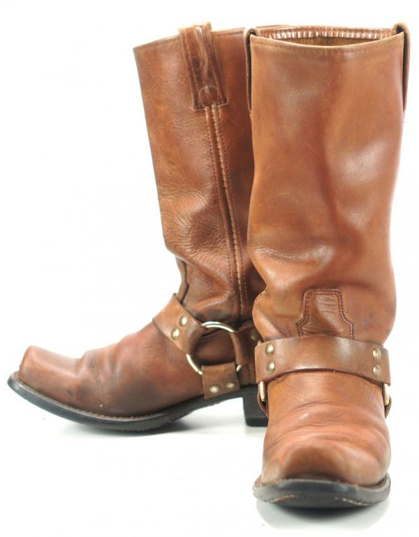 Vintage Biker Motorcycle Harness Boots Boho Square Toes Oil Resistant Womens 9.5