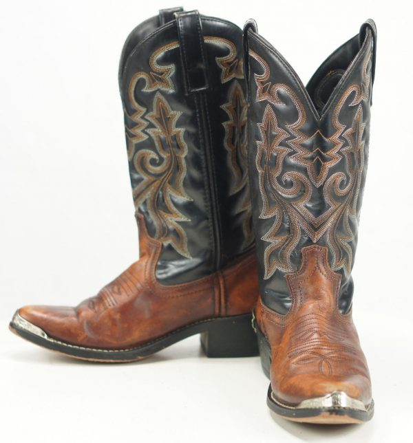 Masterson Men's Western Cowboy Boots Brown And Black Leather Silver Tips 7.5 D