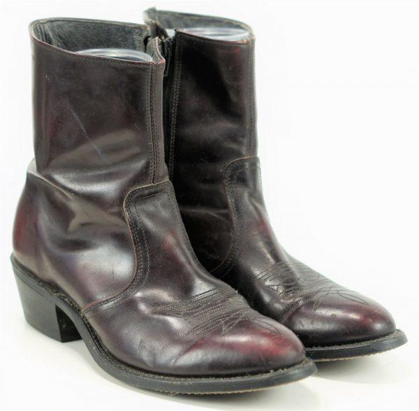 Men's Burgundy Western Ankle Half Chelsea Boots Vintage US Union Made Zip 9 EE