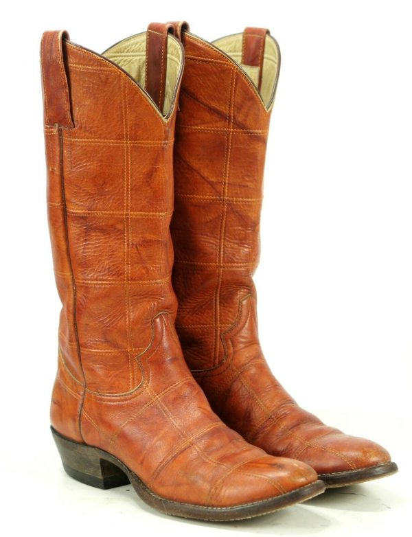 Luskeys Women's Brown Leather Patchwork Cowboy Hippie Boots Vintage Hand Made 8