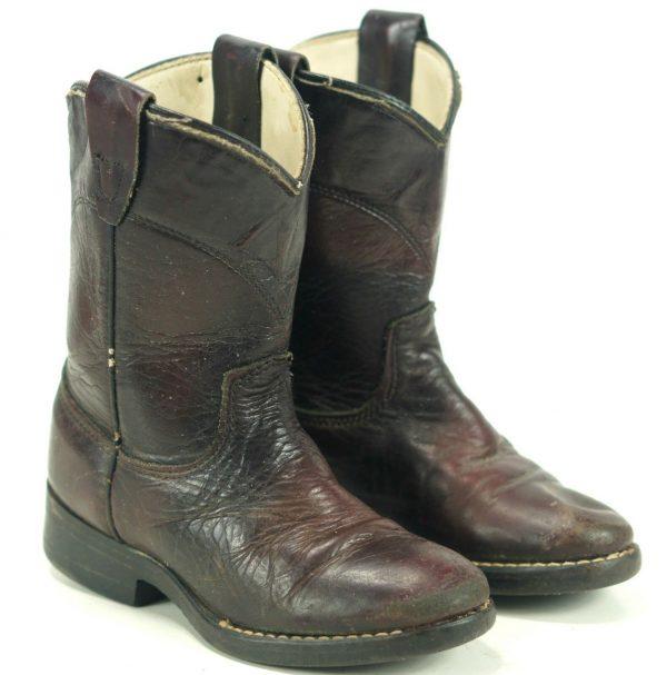 Laredo Toddlers Burgundy Leather Western Cowboy Boots Round Toe US Made Kids (6)