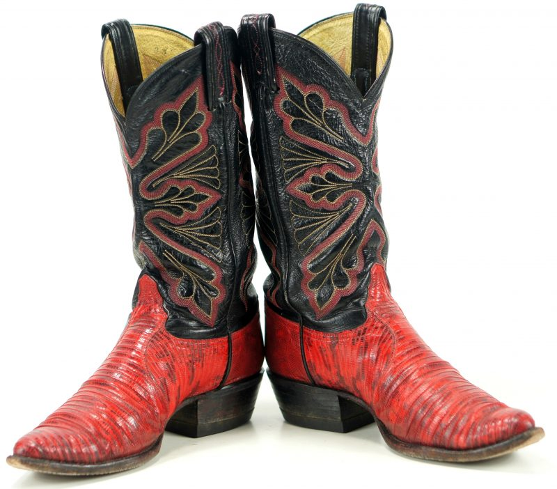 tony lama vintage red lizard cowboy western boots men