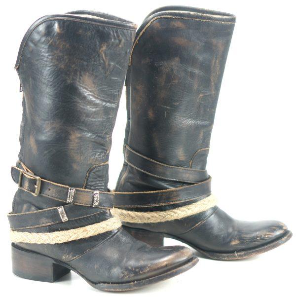 Freebird by Steven Drove Distressed Black Leather Biker Boots Back Zip Womens 7 (1)