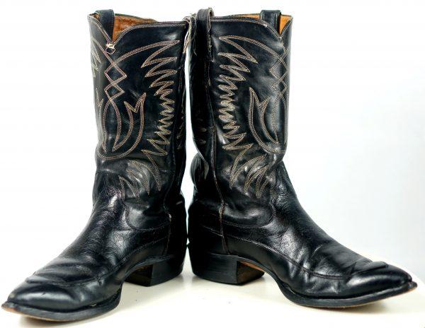 Justin Ft Worth Black Cowboy Boots Pointy Toe Vintage 70s US Made Men