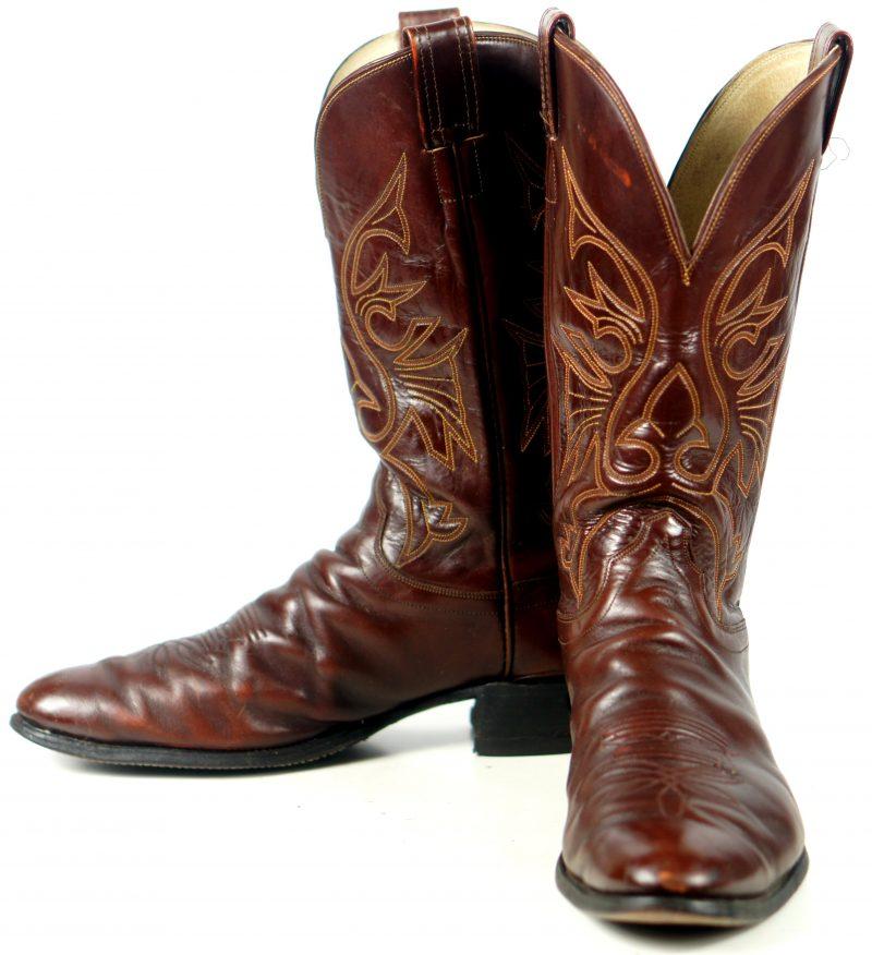 Olathe Cowboy Western Boots Brown Leather Deep Vees Vintage US Made Men