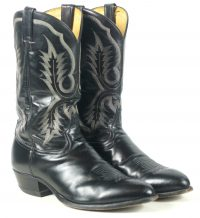 Tony Lama Cowboy Western Boots Black Leather Vintage US Texas Made Men