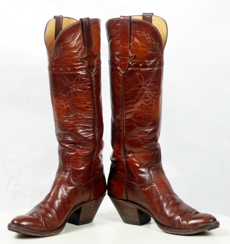 to stanley custom vintage nee high brown cowboy boots womens (10)
