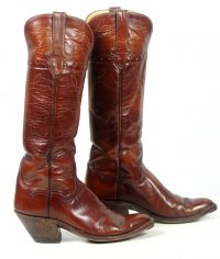 to stanley custom vintage nee high brown cowboy boots womens (4)