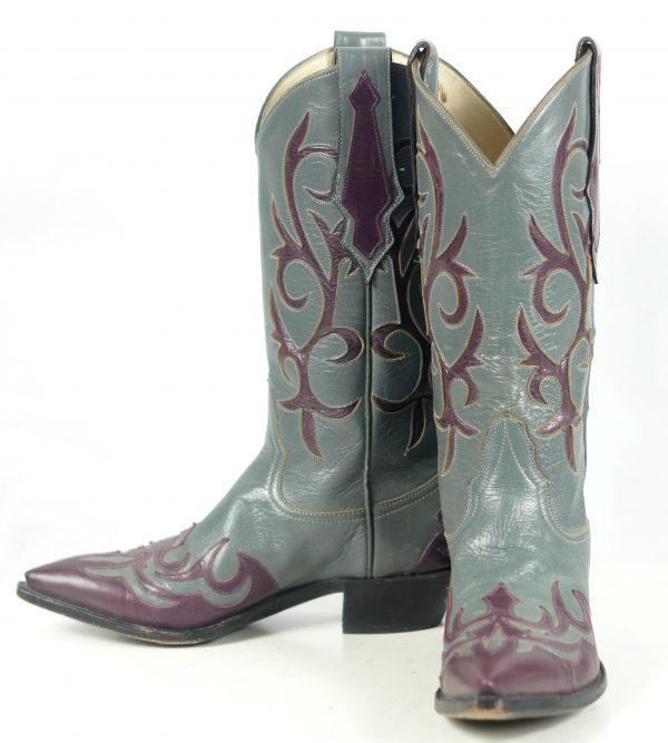 Larry Mahan Gray & Burgundy Inlay Cowboy Boots Vintage US Made Women
