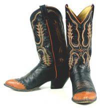 Tony Lama Black Leather Cowboy Boots Pumpkin Wingtip Vintage US Made Men