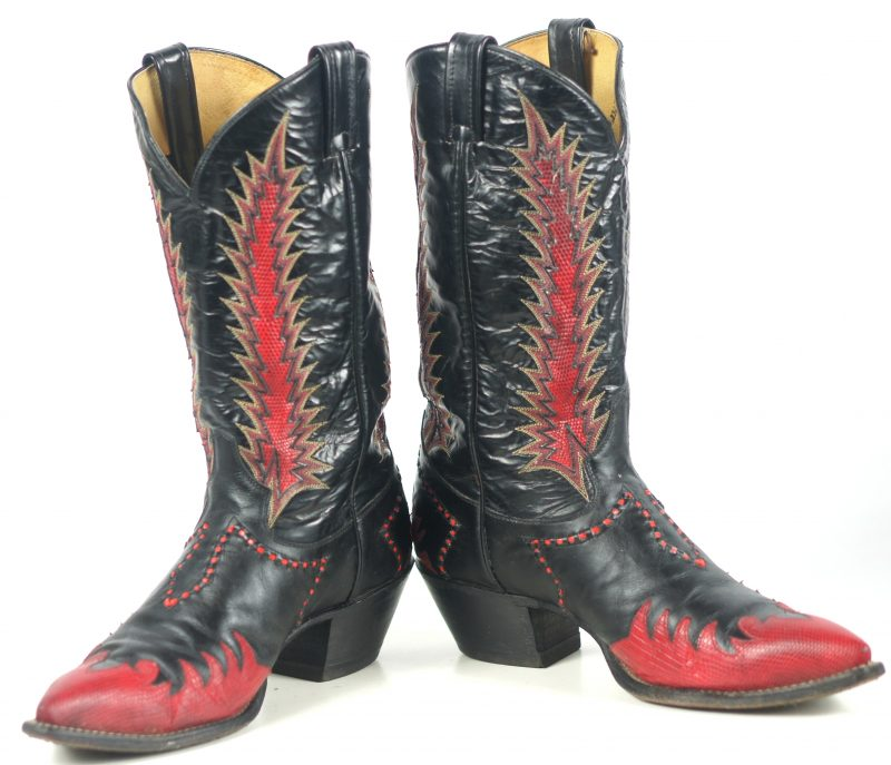 Tony Lama Firewalker Cowboy Western Boots Red & Black Inlay Vintage 80s Mens (11)
