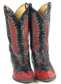 Tony Lama Firewalker Cowboy Western Boots Red & Black Inlay Vintage 80s Mens (2)