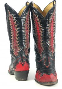 Tony Lama Firewalker Cowboy Western Boots Red & Black Inlay Vintage 80s Mens (7)