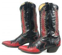 Tony Lama Firewalker Cowboy Western Boots Red & Black Inlay Vintage 80s Mens (9)