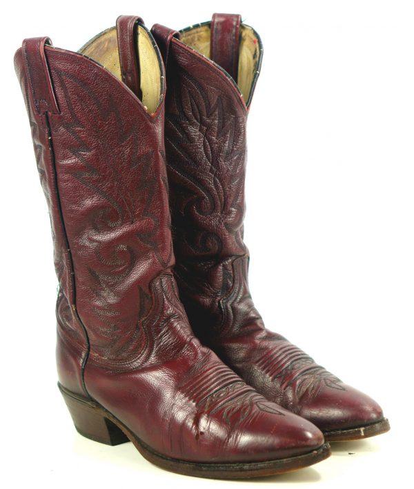 Dan Post Vintage Burgundy Leather Cowboy Western Boots Men