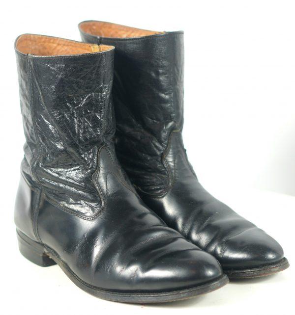 Hytest Vintage US Made Black Leather Ankle Half Chelsea Dealer Boots Men