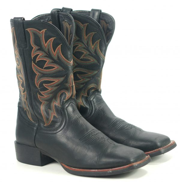 Justin Black Leather Cowboy Boots Wide Square Toe 8 Row Rainbow Stitch Men