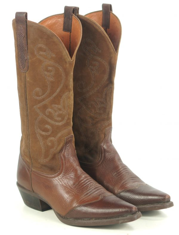 Nine West Brown Leather & Suede Cowboy Boots Snip Toe WIngtip Boho Women
