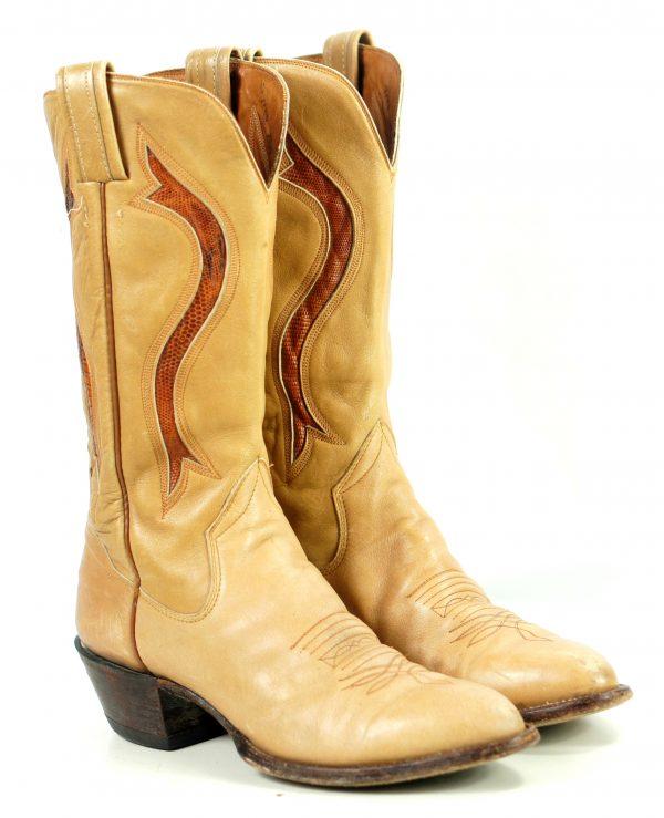 Sanders Golden Tan Leather Vintage Cowboy Western Boots Exotic Inlays Men (7)
