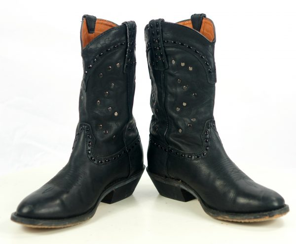 Winchester Black Leather Short Western Cowgirl Boots Silver Studs Women