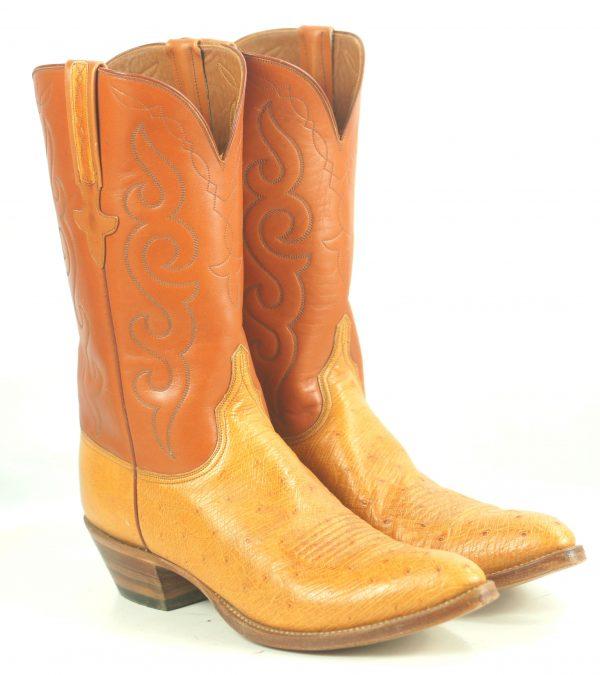 Lucchese San Antonio Vintage 1989 Ostrich Cowboy Boots Original Box Men