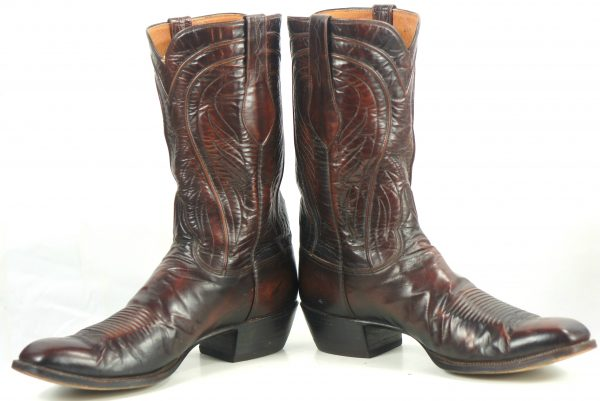 Lucchese San Antonio Vintage 80s US Made Brown Cowboy Boots French Toe Men