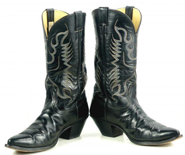 Nocona Black Leather Pointy Toe Cowboy Western Boots Vintage US Made Men