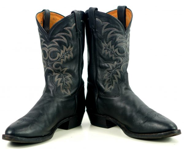 Tony Lama Black Leather Cowboy Western Boots USA Handcrafted Men