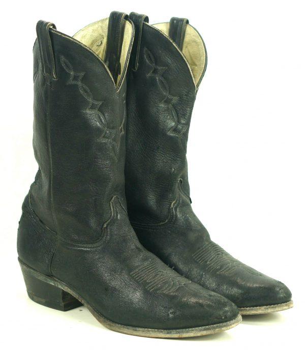 Abilene Black Elkskin Soft Cowboy Western Boots Vintage US Made Men