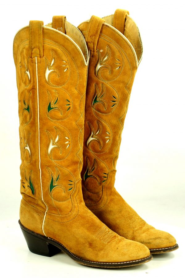 Acme 16-Inch Golden Roughout Suede Inlay Cowboy Boots Vintage US Made Womens (10)