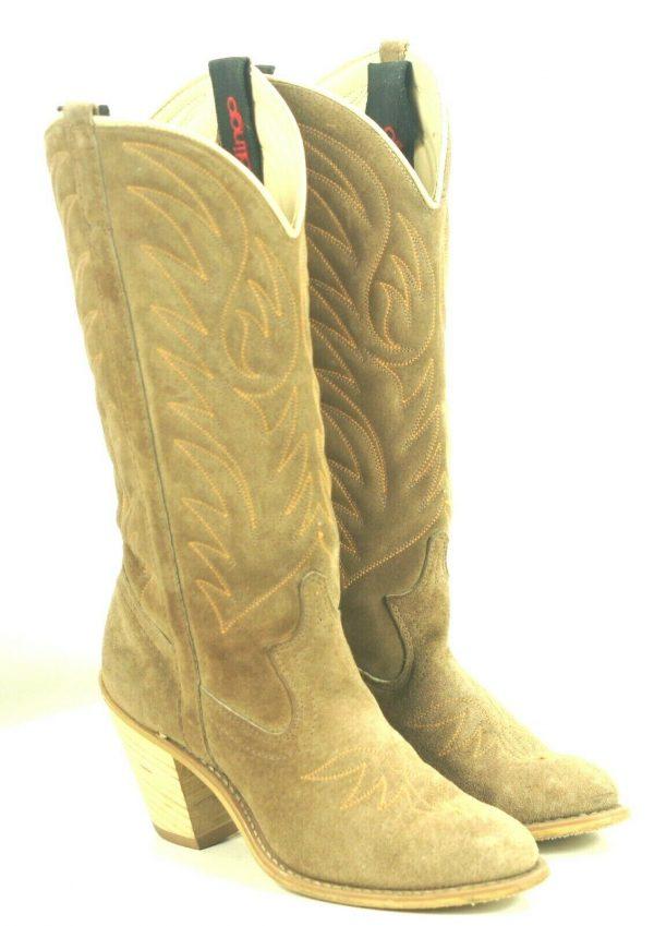 Acme Dingo Brown Roughout Suede Cowboy Boots Hi Heel Vintage US Made Women