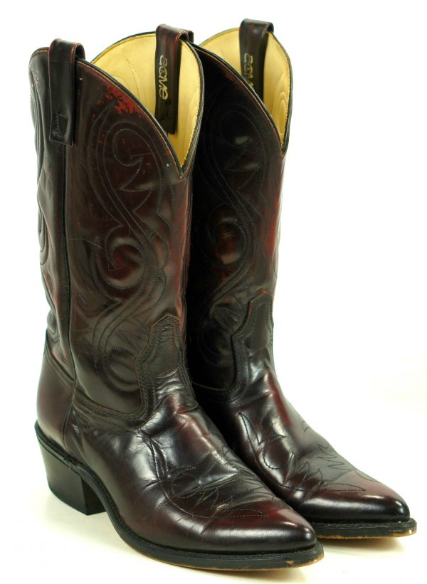 Acme Glossy Black Cherry Cowboy Boots Vintage USA Made Pointy Toe Men
