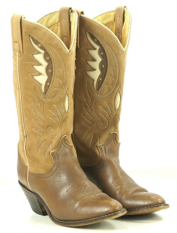 Acme Two-Tone Brown Leather Cowboy Boots Inlay Wings Vintage US Made Women (1)