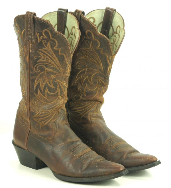 Ariat Distressed Brown Leather Cowboy Western Boots Wild Stitch Women