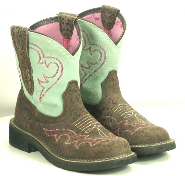 Ariat Fatbaby Harmony Mint Leopard Cowboy Riding Boots Discontinued Women