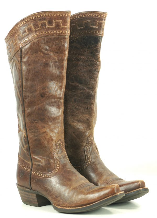 Ariat Sahara Brown Leather 17 Tall Knee Hi Riding Boots Discontinued Womens (4)