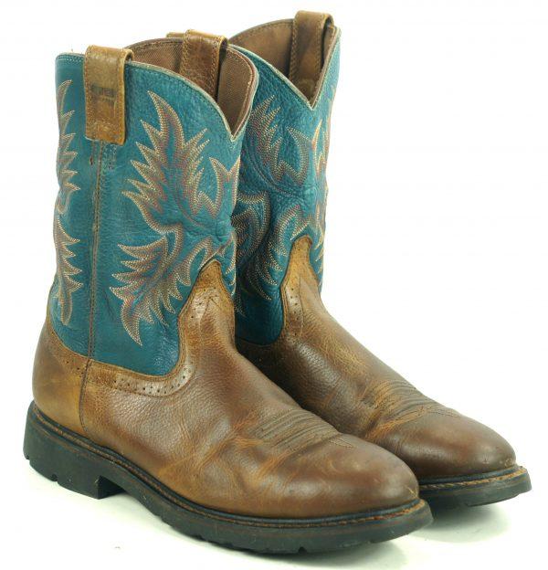Ariat Sierra Teal Blue Brown Leather Roper Work Cowboy Boots 10002422 Men