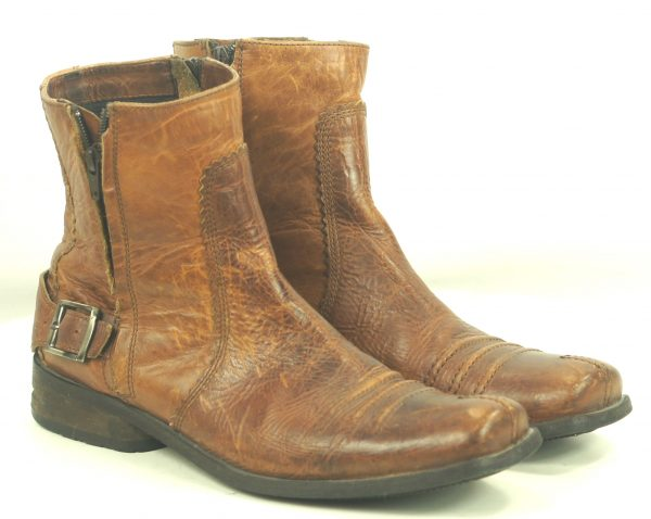 Bronx Brown Leather Biker Ankle Boots Double Zipper Buckling Strap Mens (2)