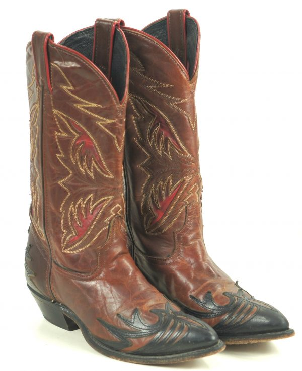 Code West Black Brown Cowboy Boots Red Inlays Wings Vintage 80S US Made Women