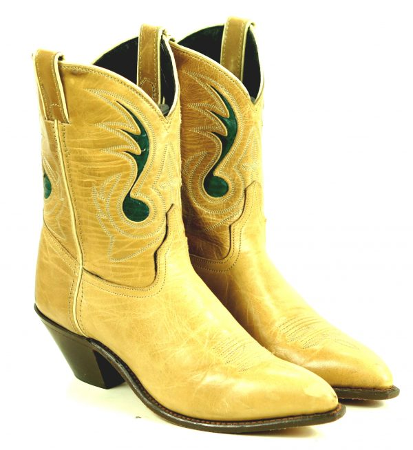 Code West Tan Ankle Cowboy Boots Inlay Green Music Note Vintage US Made Women