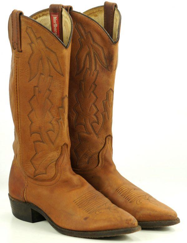 Dan Post Marlboro Brown Leather Cowboy Western Boots Vintage US Made Women
