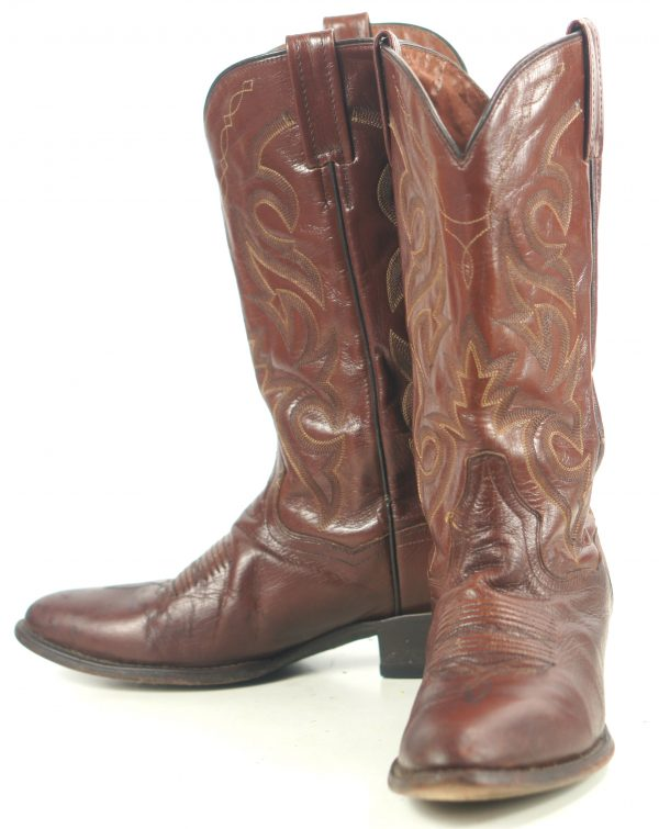 Dan Post Russet Leather Cowboy Western Boots 8 Row Stitch Mexico Men
