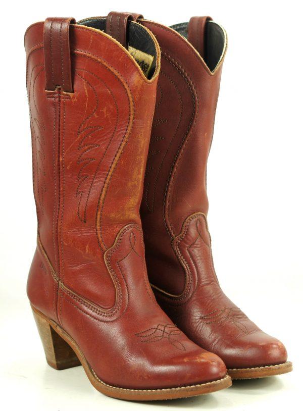 Dexter Burgundy Leather Western Cowboy Boots Vintage US Made Hi Heels Womens (5)