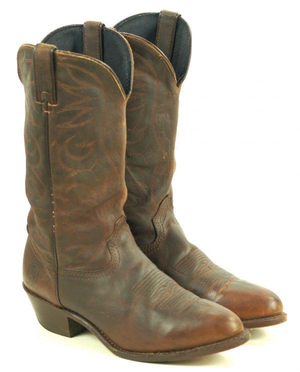 Dingo Dark Brown Leather Slouch Western Cowboy Boots Vintage US Made Men