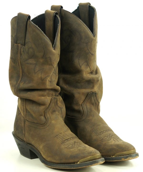 Double H HH Distressed Brown Leather Cowboy Western Slouch Boots Tips Womens 7 M (6)