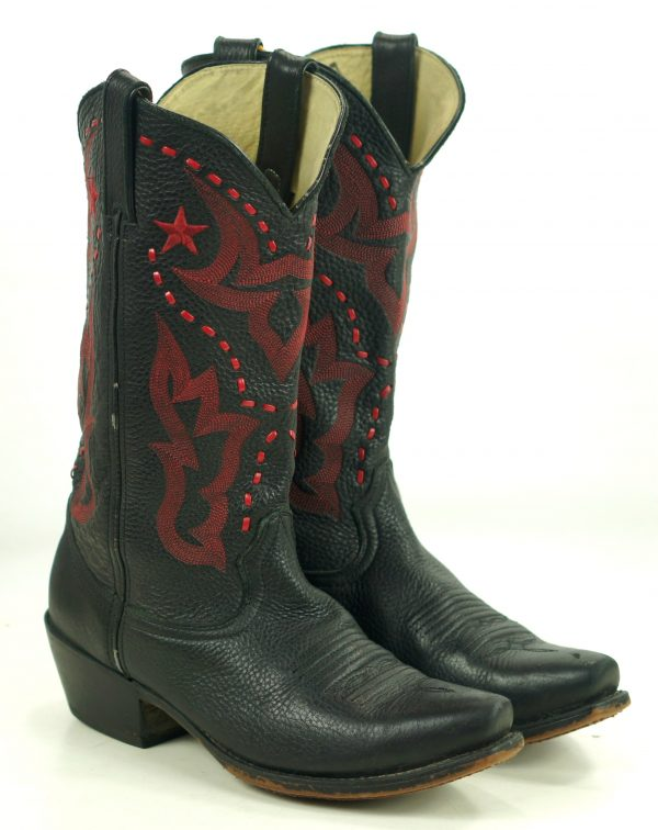 Durango Black Leather Cowboy Boots Red Stars 10 Row Stitch RD5110 Women