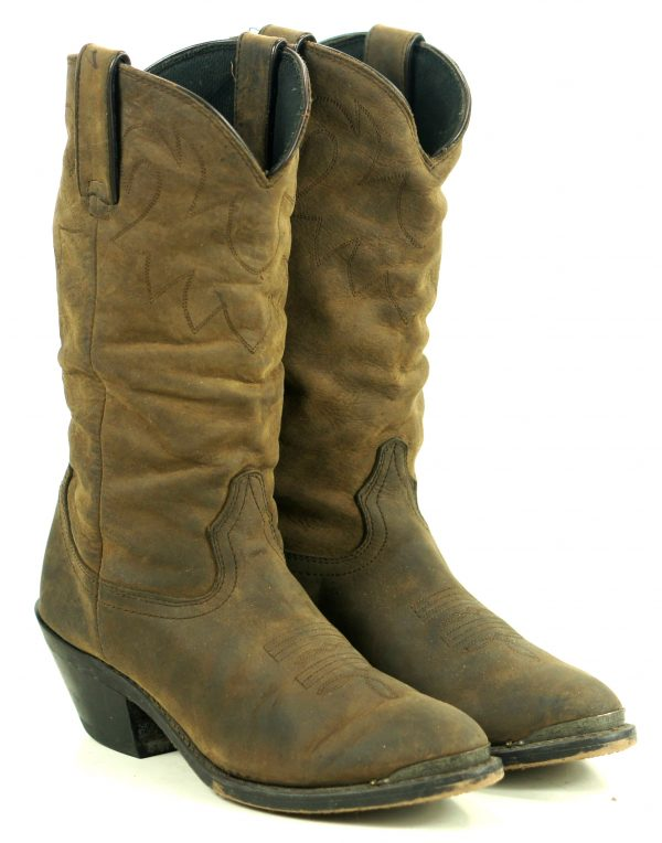 Durango Distressed Brown Leather Cowboy Slouch Boots $150 RD542 Women