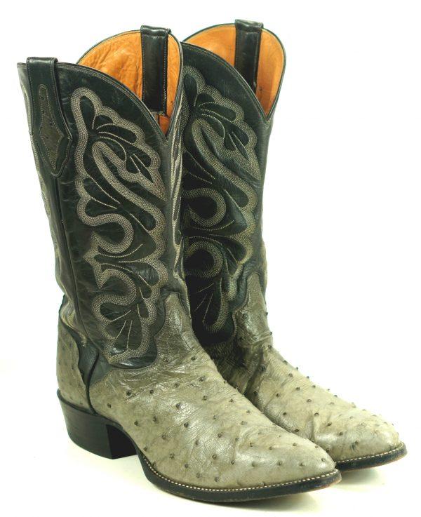 El Dorado Full Quill Ostrich Gray Western Cowboy Boots Handcrafted Men