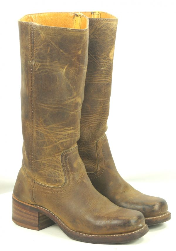 Frye 77050 Distressed Brown Leather Campus Boots US Made Cloth Pulls Women
