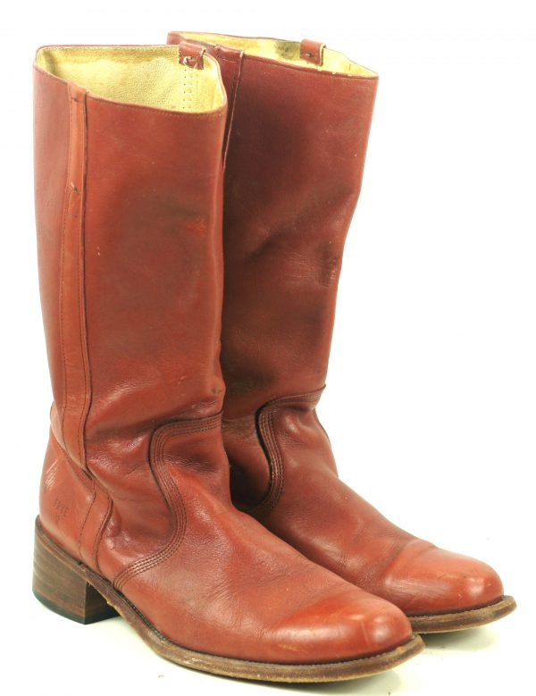 Frye Brick Leather Campus Boots Square Toe Vintage US Made Cloth Pulls Mens (4)